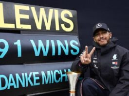 The runaway series leader and six-time world champion equalled Michael Schumacher's total of wins and moved closer to levelling him on seven drivers' titles with his victory at the Nurburgring on Sunday.